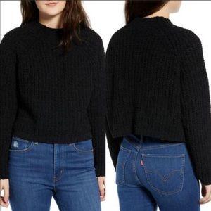Cotton Emporium Black Shaker Cropped Sweater XS